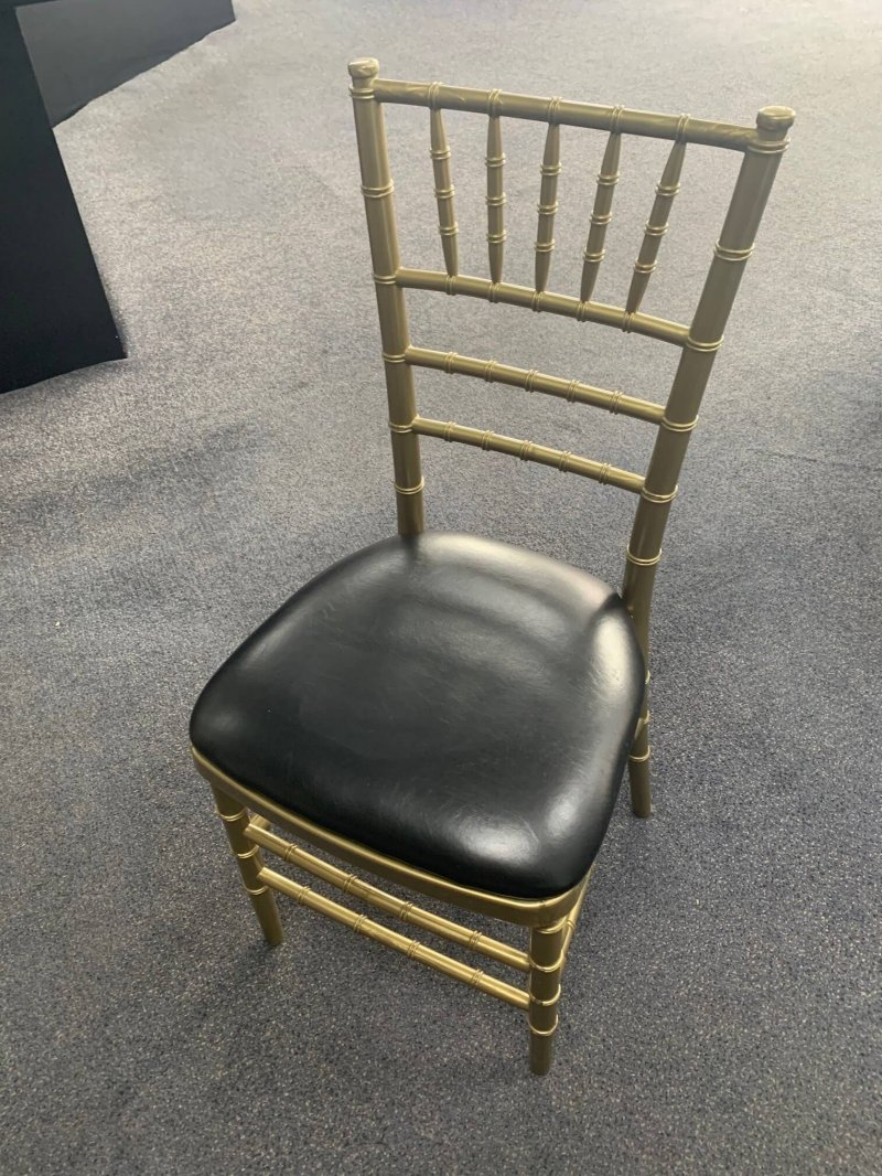 Rose Gold Tiffany Chair with Black Padded Seat, pattis hire